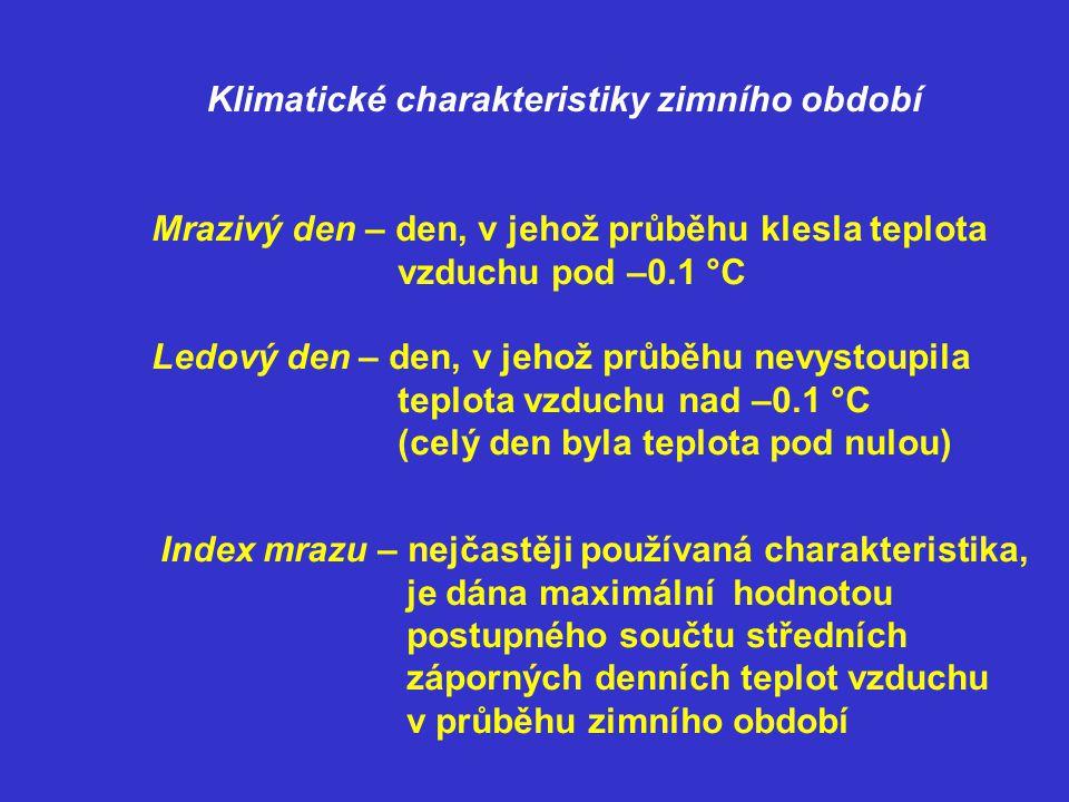Klimatické charakteristiky zimního období Mrazivý den – den, v jehož průběhu klesla teplota vzduchu pod –0.1 °C Ledový den – den, v jehož průběhu nevy
