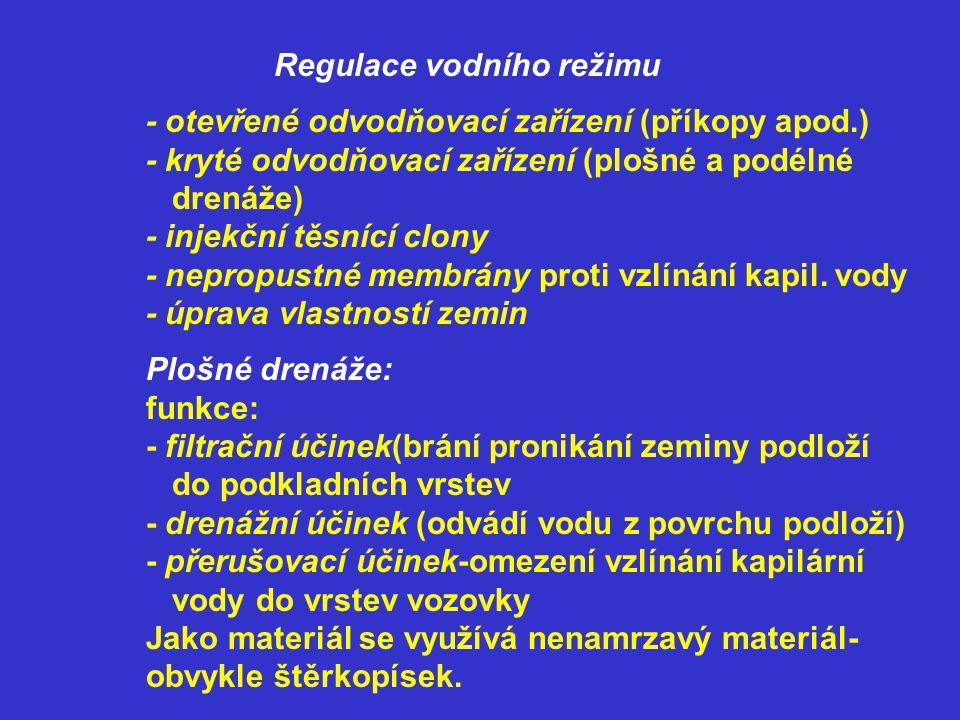 Regulace vodního režimu - otevřené odvodňovací zařízení (příkopy apod.) - kryté odvodňovací zařízení (plošné a podélné drenáže) - injekční těsnící clo