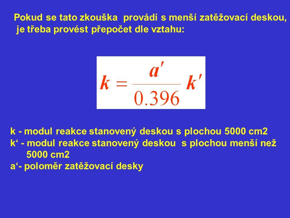 Pokud se tato zkouška provádí s menší zatěžovací deskou, je třeba provést přepočet dle vztahu: k - modul reakce stanovený deskou s plochou 5000 cm2 k' - modul reakce stanovený deskou s plochou menší než 5000 cm2 a'- poloměr zatěžovací desky