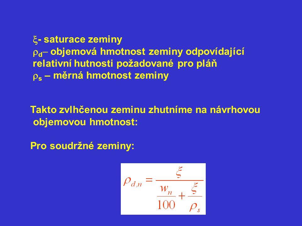  - saturace zeminy  d  objemová hmotnost zeminy odpovídající relativní hutnosti požadované pro pláň  s – měrná hmotnost zeminy Takto zvlhčenou zeminu zhutníme na návrhovou objemovou hmotnost: Pro soudržné zeminy: