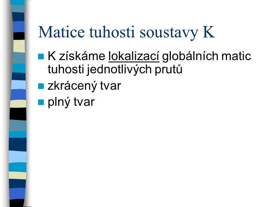 Matice tuhosti soustavy K K získáme lokalizací globálních matic tuhosti jednotlivých prutů zkrácený tvar plný tvar