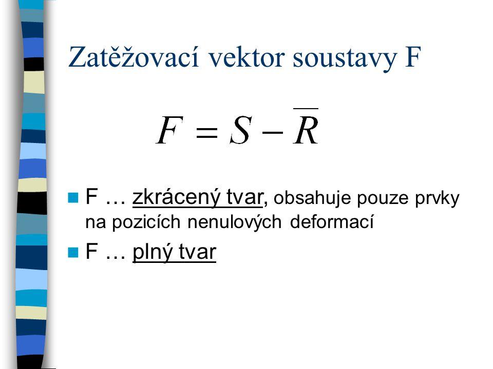 Zatěžovací vektor soustavy F F … zkrácený tvar, obsahuje pouze prvky na pozicích nenulových deformací F … plný tvar