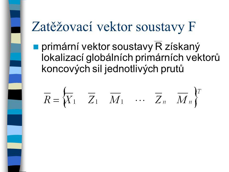 Zatěžovací vektor soustavy F primární vektor soustavy R získaný lokalizací globálních primárních vektorů koncových sil jednotlivých prutů