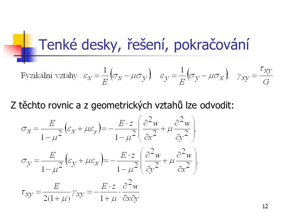 12 Tenké desky, řešení, pokračování Z těchto rovnic a z geometrických vztahů lze odvodit: