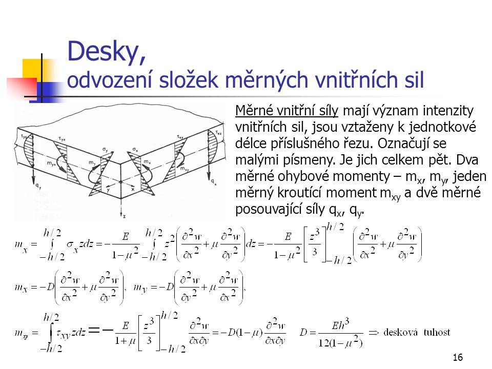 16 Desky, odvození složek měrných vnitřních sil Měrné vnitřní síly mají význam intenzity vnitřních sil, jsou vztaženy k jednotkové délce příslušného ř