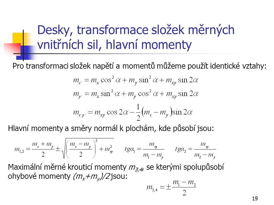 19 Desky, transformace složek měrných vnitřních sil, hlavní momenty Hlavní momenty a směry normál k plochám, kde působí jsou: Pro transformaci složek