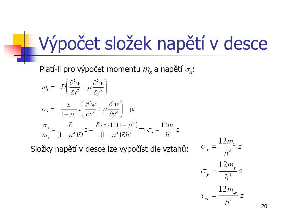 20 Výpočet složek napětí v desce Platí-li pro výpočet momentu m x a napětí  x : Složky napětí v desce lze vypočíst dle vztahů: