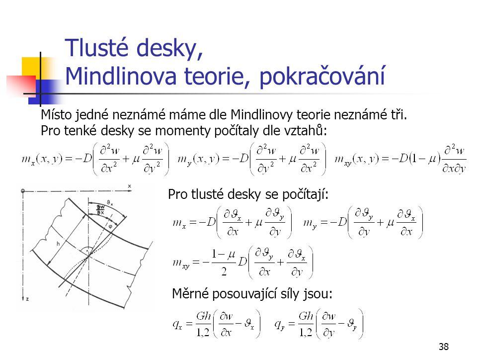 38 Tlusté desky, Mindlinova teorie, pokračování Místo jedné neznámé máme dle Mindlinovy teorie neznámé tři. Pro tenké desky se momenty počítaly dle vz