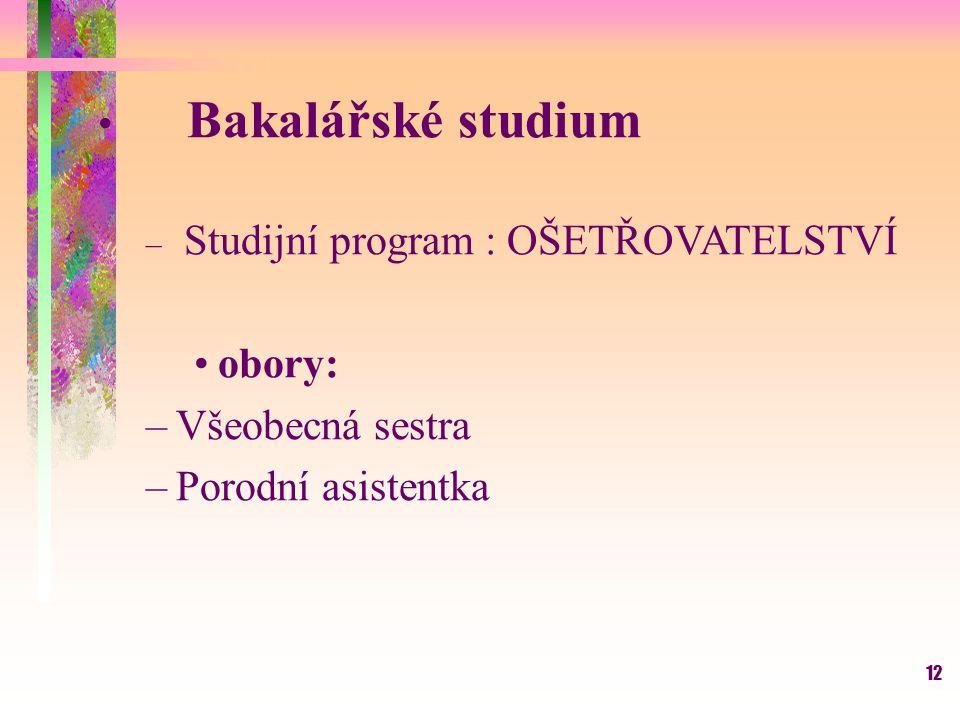 12 Bakalářské studium – Studijní program : OŠETŘOVATELSTVÍ obory: –Všeobecná sestra –Porodní asistentka