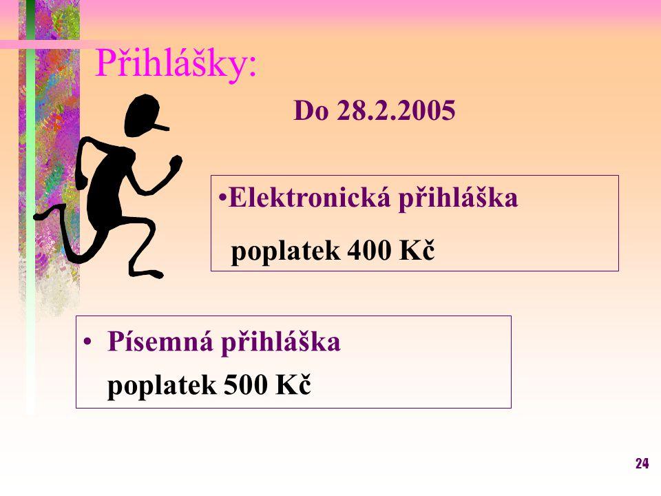 24 Přihlášky: Do 28.2.2005 Písemná přihláška poplatek 500 Kč Elektronická přihláška poplatek 400 Kč