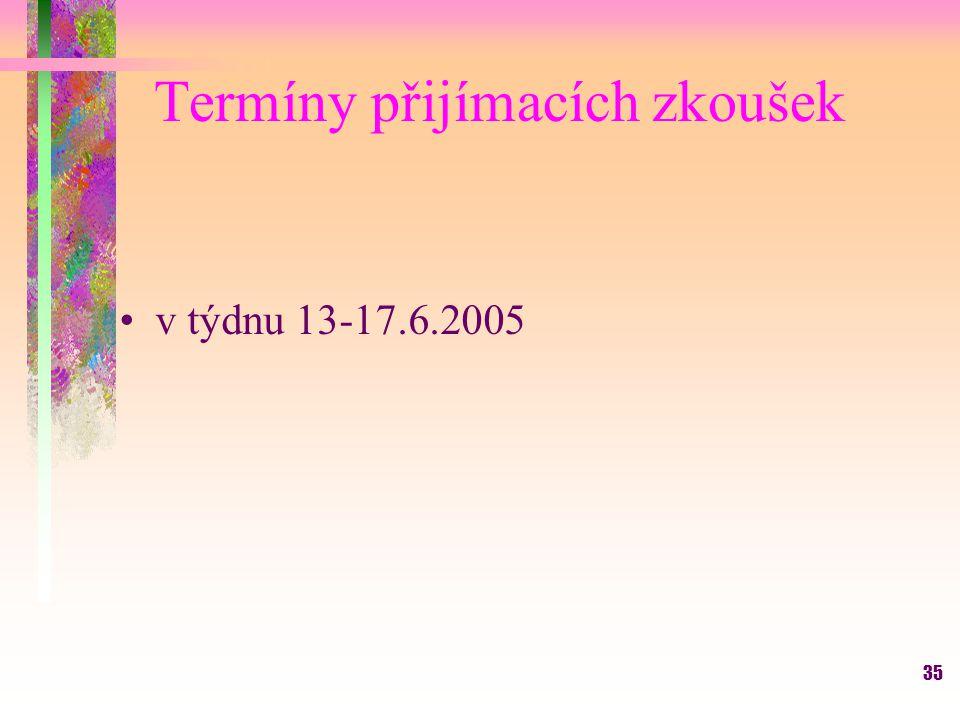 35 Termíny přijímacích zkoušek v týdnu 13-17.6.2005