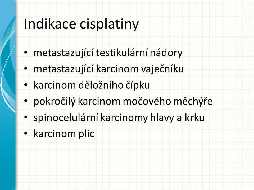 Indikace cisplatiny metastazující testikulární nádory metastazující karcinom vaječníku karcinom děložního čípku pokročilý karcinom močového měchýře sp
