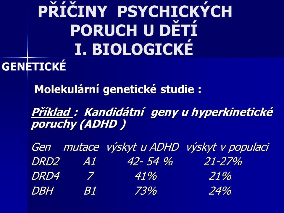 PŘÍČINY PSYCHICKÝCH PORUCH U DĚTÍ I. BIOLOGICKÉ Molekulární genetické studie : Molekulární genetické studie : Příklad : Kandidátní geny u hyperkinetic