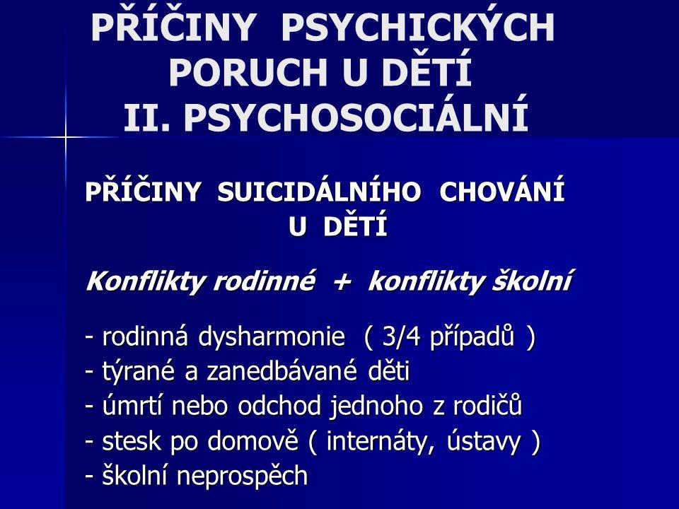 PŘÍČINY PSYCHICKÝCH PORUCH U DĚTÍ II. PSYCHOSOCIÁLNÍ PŘÍČINY SUICIDÁLNÍHO CHOVÁNÍ U DĚTÍ Konflikty rodinné + konflikty školní - rodinná dysharmonie (
