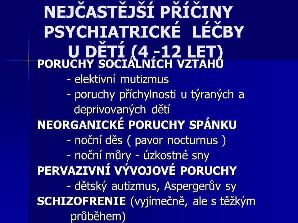 NEJČASTĚJŠÍ PŘÍČINY PSYCHIATRICKÉ LÉČBY U DĚTÍ (4 -12 LET) PORUCHY SOCIÁLNÍCH VZTAHŮ - elektivní mutizmus - poruchy příchylnosti u týraných a deprivov