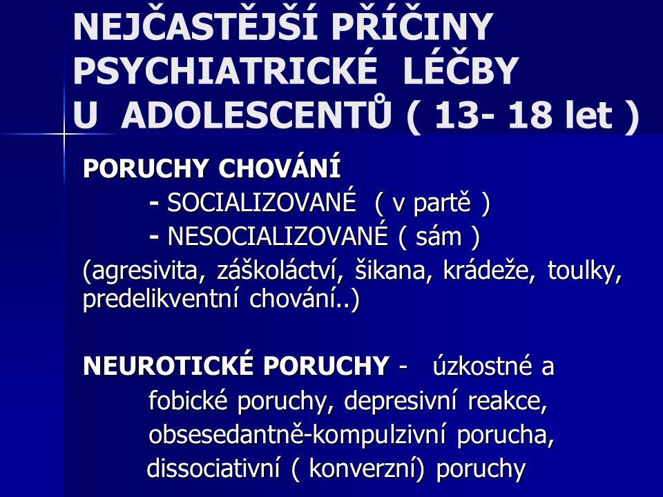 NEJČASTĚJŠÍ PŘÍČINY PSYCHIATRICKÉ LÉČBY U ADOLESCENTŮ ( 13- 18 let ) PORUCHY CHOVÁNÍ - SOCIALIZOVANÉ ( v partě ) - NESOCIALIZOVANÉ ( sám ) (agresivita