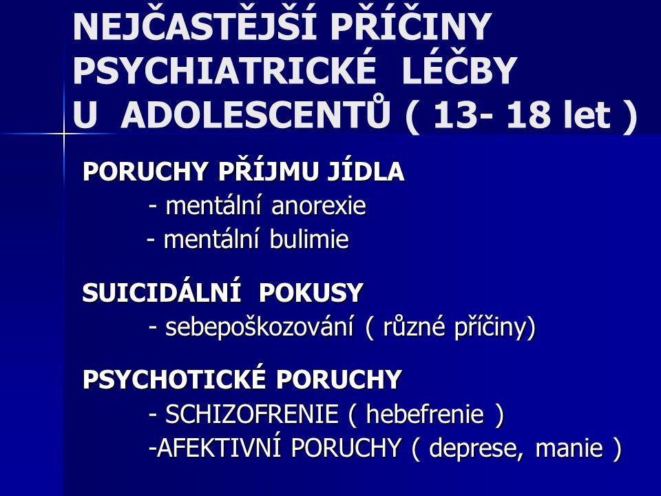 NEJČASTĚJŠÍ PŘÍČINY PSYCHIATRICKÉ LÉČBY U ADOLESCENTŮ ( 13- 18 let ) PORUCHY PŘÍJMU JÍDLA - mentální anorexie - mentální bulimie - mentální bulimie SU