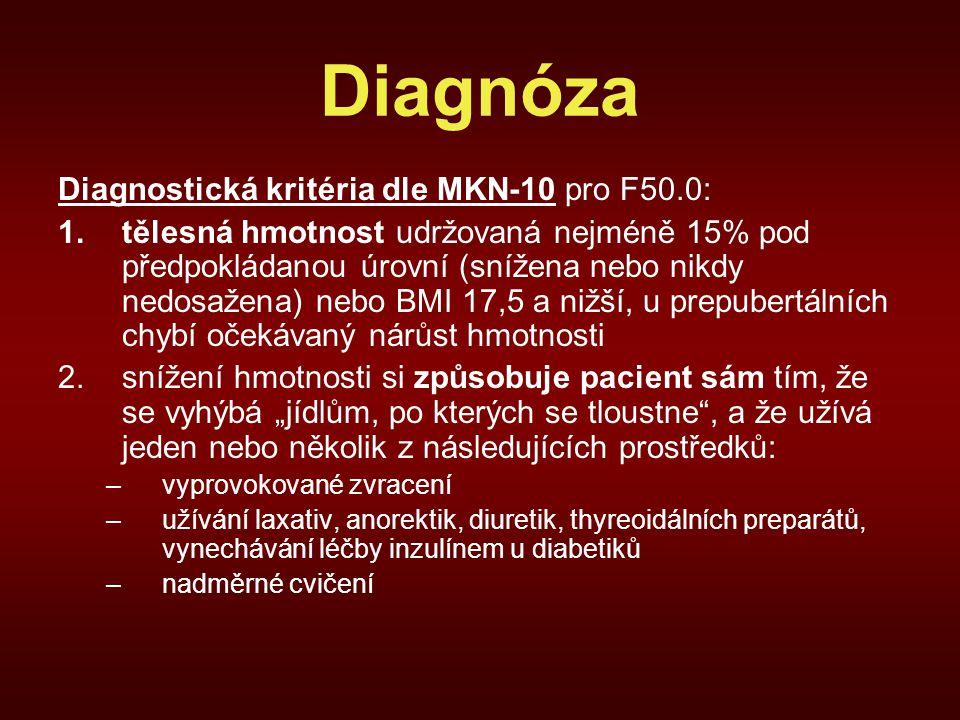 """Diagnóza Diagnostická kritéria dle MKN-10 pro F50.0: 1.tělesná hmotnost udržovaná nejméně 15% pod předpokládanou úrovní (snížena nebo nikdy nedosažena) nebo BMI 17,5 a nižší, u prepubertálních chybí očekávaný nárůst hmotnosti 2.snížení hmotnosti si způsobuje pacient sám tím, že se vyhýbá """"jídlům, po kterých se tloustne , a že užívá jeden nebo několik z následujících prostředků: –vyprovokované zvracení –užívání laxativ, anorektik, diuretik, thyreoidálních preparátů, vynechávání léčby inzulínem u diabetiků –nadměrné cvičení"""