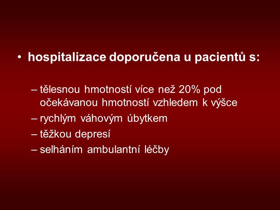 hospitalizace doporučena u pacientů s: –tělesnou hmotností více než 20% pod očekávanou hmotností vzhledem k výšce –rychlým váhovým úbytkem –těžkou depresí –selháním ambulantní léčby