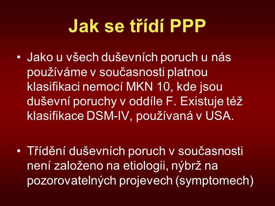 Jak se třídí PPP Jako u všech duševních poruch u nás používáme v současnosti platnou klasifikaci nemocí MKN 10, kde jsou duševní poruchy v oddíle F.