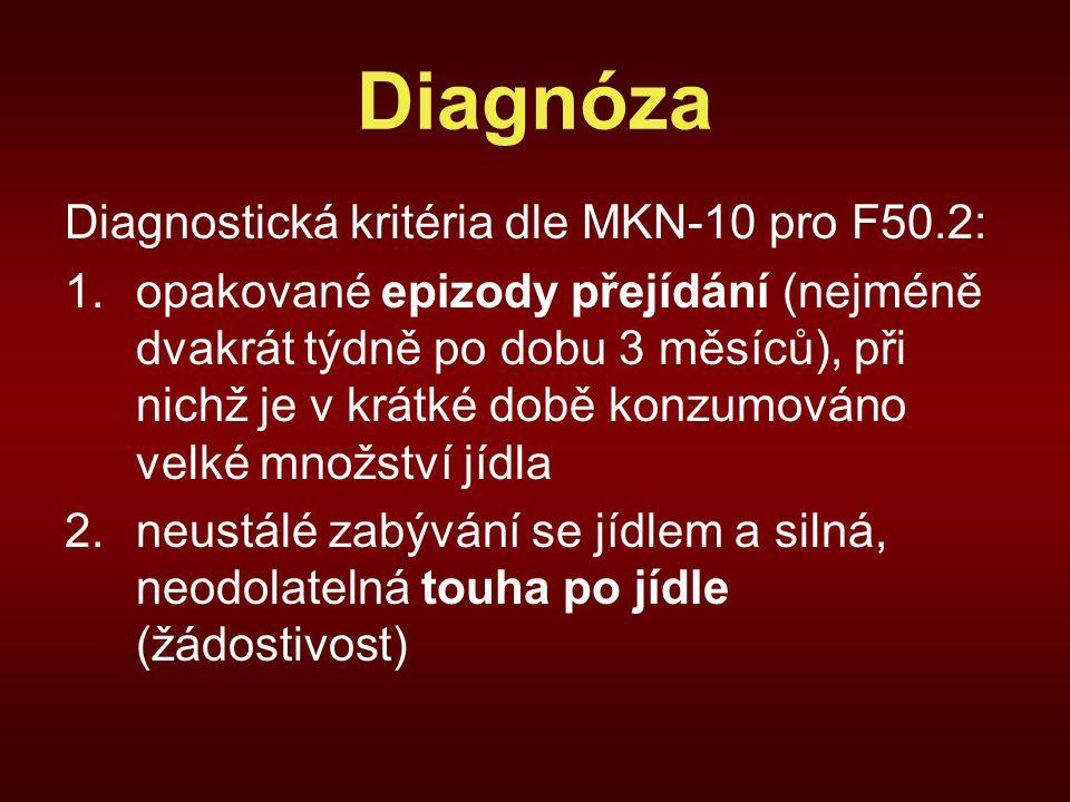 Diagnóza Diagnostická kritéria dle MKN-10 pro F50.2: 1.opakované epizody přejídání (nejméně dvakrát týdně po dobu 3 měsíců), při nichž je v krátké době konzumováno velké množství jídla 2.neustálé zabývání se jídlem a silná, neodolatelná touha po jídle (žádostivost)
