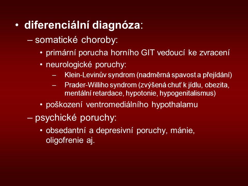 diferenciální diagnóza: –somatické choroby: primární porucha horního GIT vedoucí ke zvracení neurologické poruchy: –Klein-Levinův syndrom (nadměrná spavost a přejídání) –Prader-Williho syndrom (zvýšená chuť k jídlu, obezita, mentální retardace, hypotonie, hypogenitalismus) poškození ventromediálního hypothalamu –psychické poruchy: obsedantní a depresivní poruchy, mánie, oligofrenie aj.