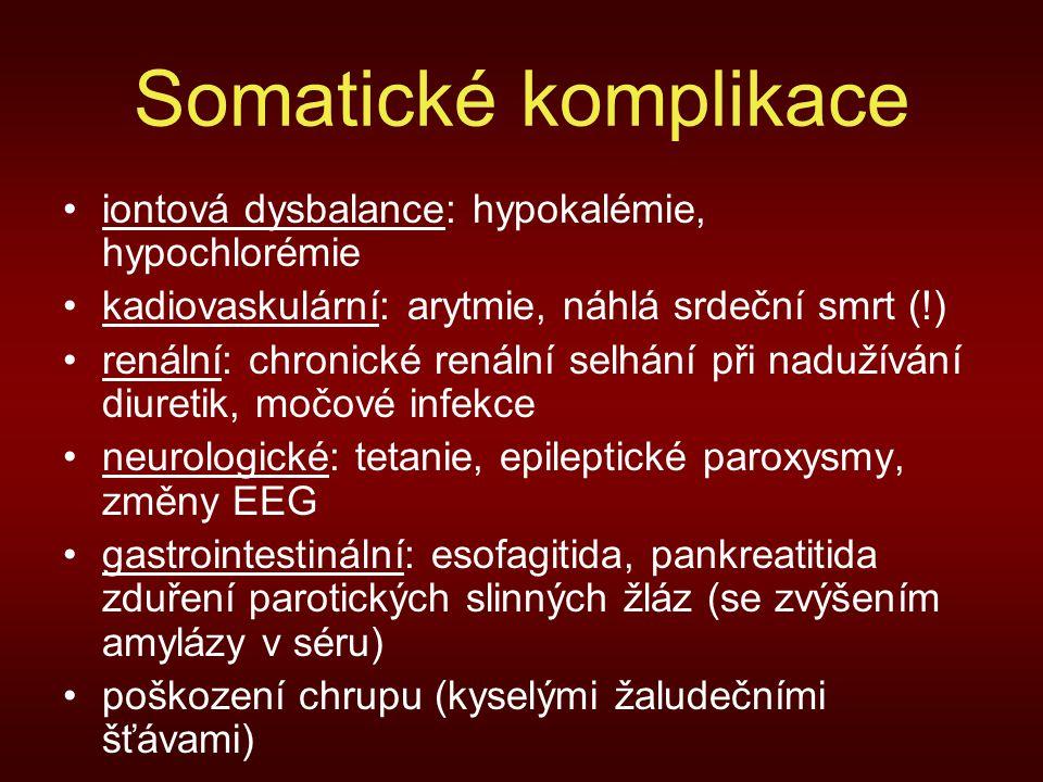 Somatické komplikace iontová dysbalance: hypokalémie, hypochlorémie kadiovaskulární: arytmie, náhlá srdeční smrt (!) renální: chronické renální selhání při nadužívání diuretik, močové infekce neurologické: tetanie, epileptické paroxysmy, změny EEG gastrointestinální: esofagitida, pankreatitida zduření parotických slinných žláz (se zvýšením amylázy v séru) poškození chrupu (kyselými žaludečními šťávami)