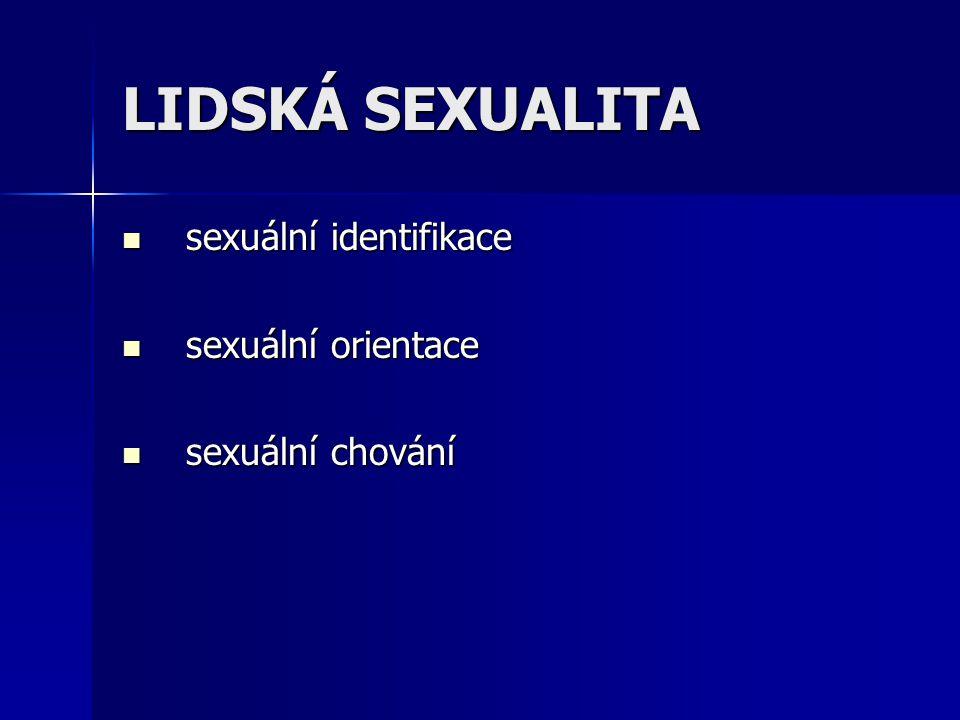 LIDSKÁ SEXUALITA sexuální identifikace sexuální identifikace sexuální orientace sexuální orientace sexuální chování sexuální chování