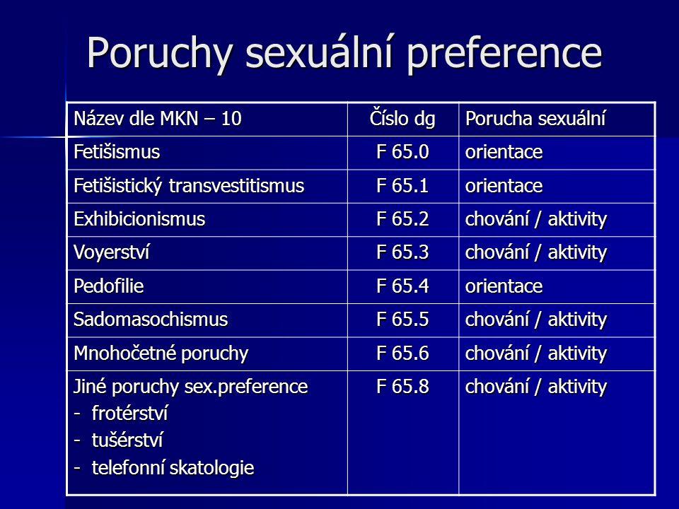 Poruchy sexuální preference Název dle MKN – 10 Číslo dg Porucha sexuální Fetišismus F 65.0 orientace Fetišistický transvestitismus F 65.1 orientace Ex