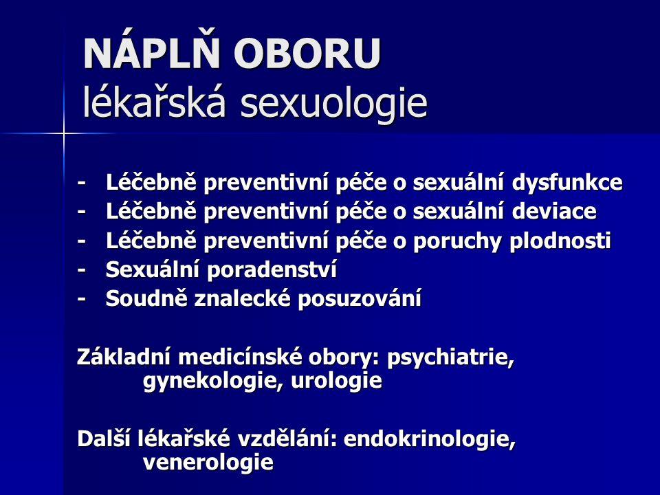NÁPLŇ OBORU lékařská sexuologie - Léčebně preventivní péče o sexuální dysfunkce - Léčebně preventivní péče o sexuální deviace - Léčebně preventivní pé