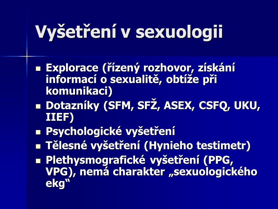 Vyšetření v sexuologii Explorace (řízený rozhovor, získání informací o sexualitě, obtíže při komunikaci) Explorace (řízený rozhovor, získání informací