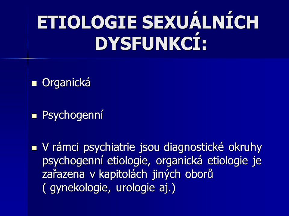 ETIOLOGIE SEXUÁLNÍCH DYSFUNKCÍ: Organická Organická Psychogenní Psychogenní V rámci psychiatrie jsou diagnostické okruhy psychogenní etiologie, organi