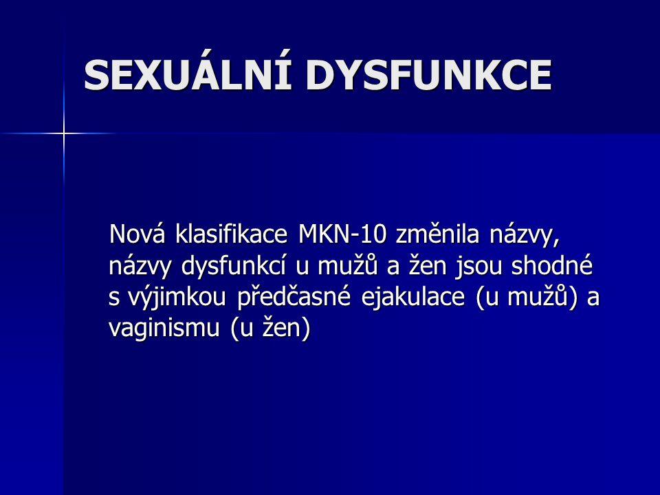 SEXUÁLNÍ DYSFUNKCE Nová klasifikace MKN-10 změnila názvy, názvy dysfunkcí u mužů a žen jsou shodné s výjimkou předčasné ejakulace (u mužů) a vaginismu