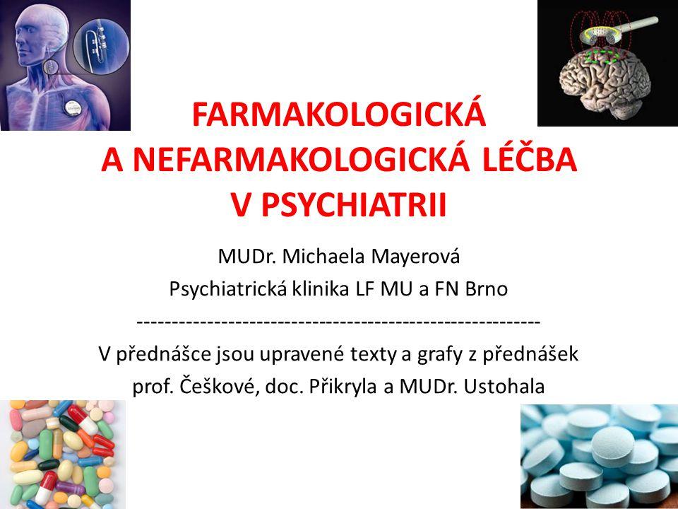 FARMAKOLOGICKÁ A NEFARMAKOLOGICKÁ LÉČBA V PSYCHIATRII MUDr. Michaela Mayerová Psychiatrická klinika LF MU a FN Brno ----------------------------------