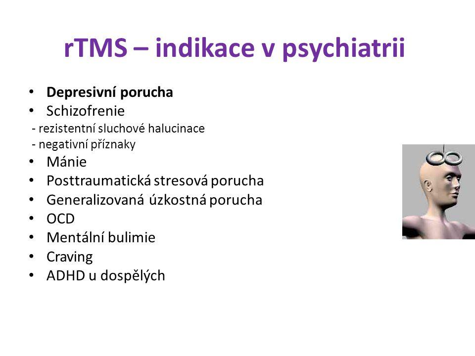 rTMS – indikace v psychiatrii Depresivní porucha Schizofrenie - rezistentní sluchové halucinace - negativní příznaky Mánie Posttraumatická stresová po