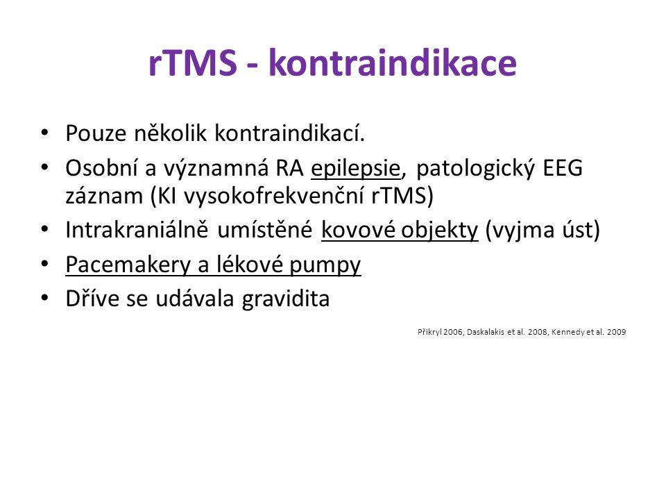 rTMS - kontraindikace Pouze několik kontraindikací. Osobní a významná RA epilepsie, patologický EEG záznam (KI vysokofrekvenční rTMS) Intrakraniálně u