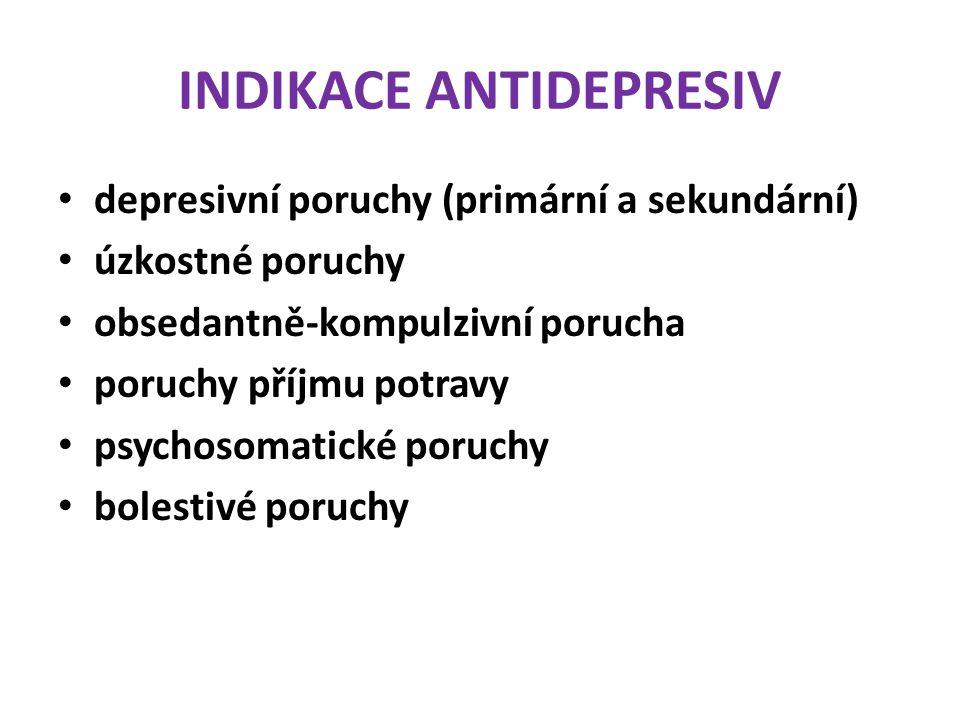 INDIKACE ANTIDEPRESIV depresivní poruchy (primární a sekundární) úzkostné poruchy obsedantně-kompulzivní porucha poruchy příjmu potravy psychosomatick