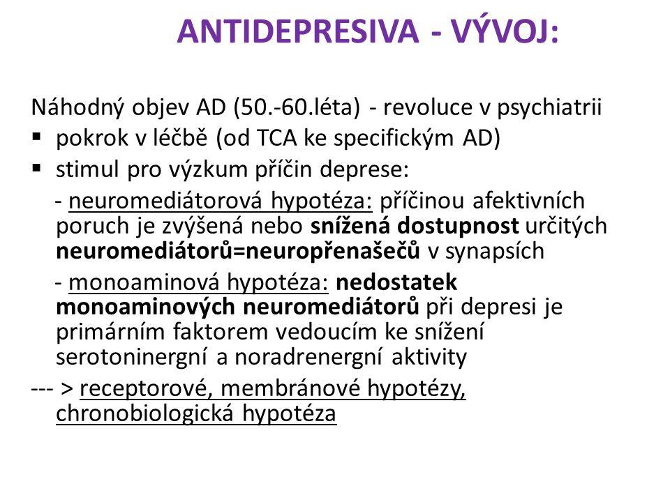 ANTIDEPRESIVA - VÝVOJ: Náhodný objev AD (50.-60.léta) - revoluce v psychiatrii  pokrok v léčbě (od TCA ke specifickým AD)  stimul pro výzkum příčin