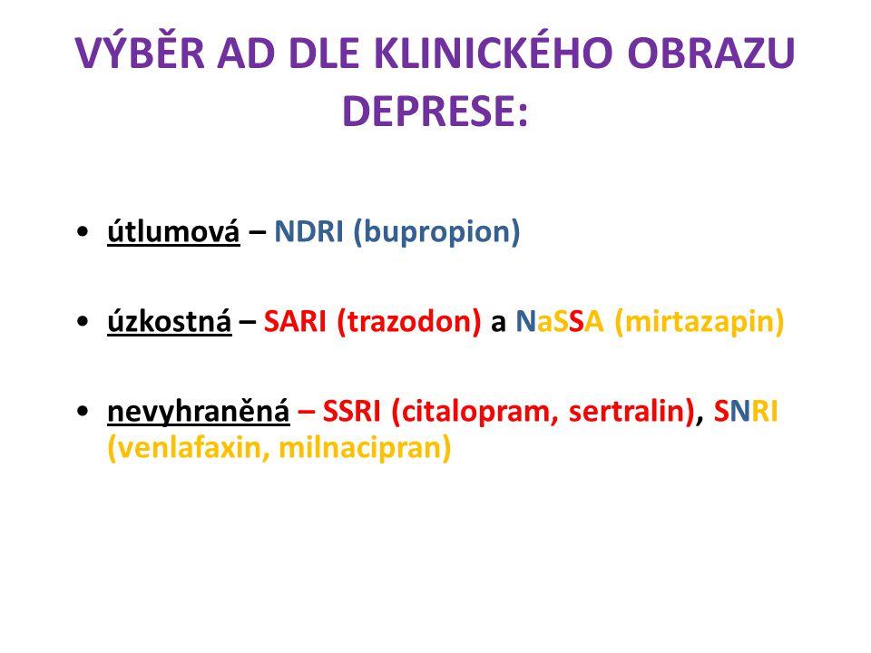 VÝBĚR AD DLE KLINICKÉHO OBRAZU DEPRESE: útlumová – NDRI (bupropion) úzkostná – SARI (trazodon) a NaSSA (mirtazapin) nevyhraněná – SSRI (citalopram, se