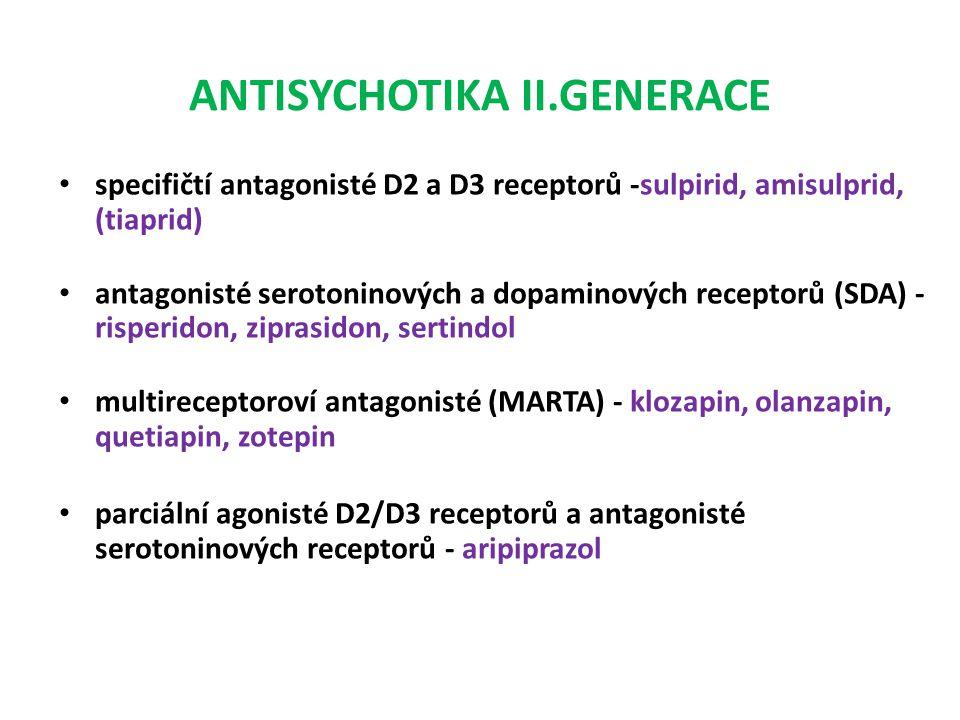 ANTISYCHOTIKA II.GENERACE specifičtí antagonisté D2 a D3 receptorů -sulpirid, amisulprid, (tiaprid) antagonisté serotoninových a dopaminových receptor