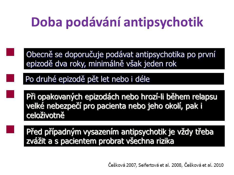 Doba podávání antipsychotik Obecně se doporučuje podávat antipsychotika po první epizodě dva roky, minimálně však jeden rok Po druhé epizodě pět let n