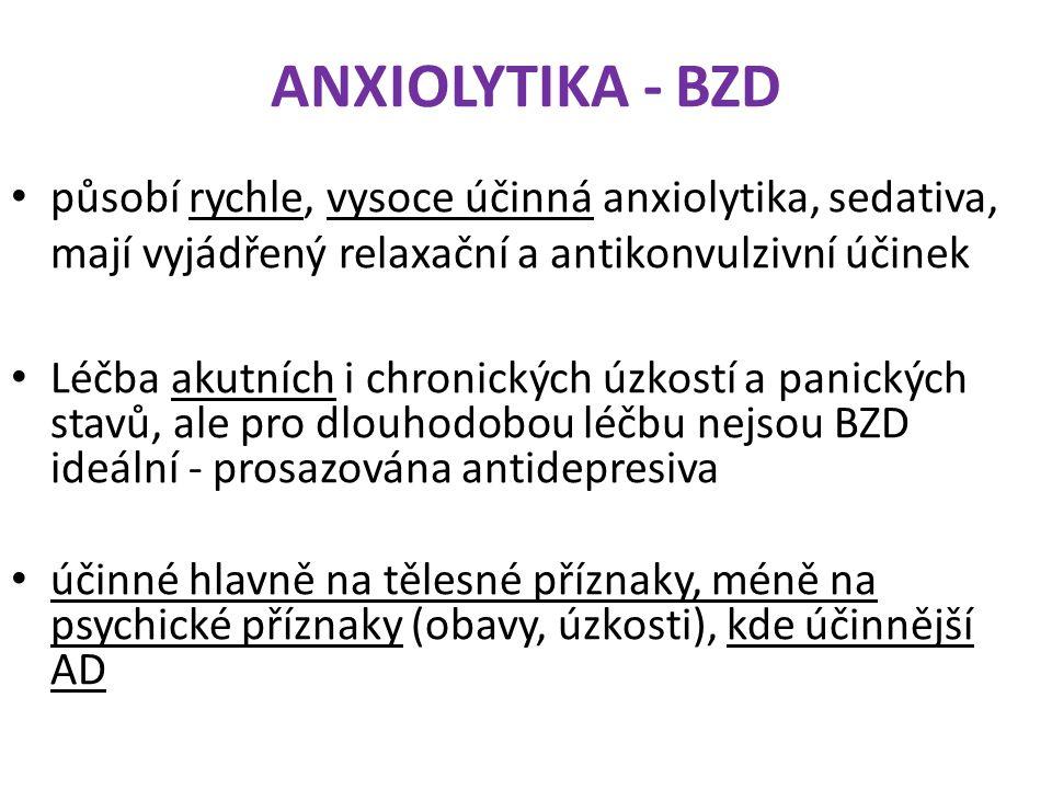 ANXIOLYTIKA - BZD působí rychle, vysoce účinná anxiolytika, sedativa, mají vyjádřený relaxační a antikonvulzivní účinek Léčba akutních i chronických ú