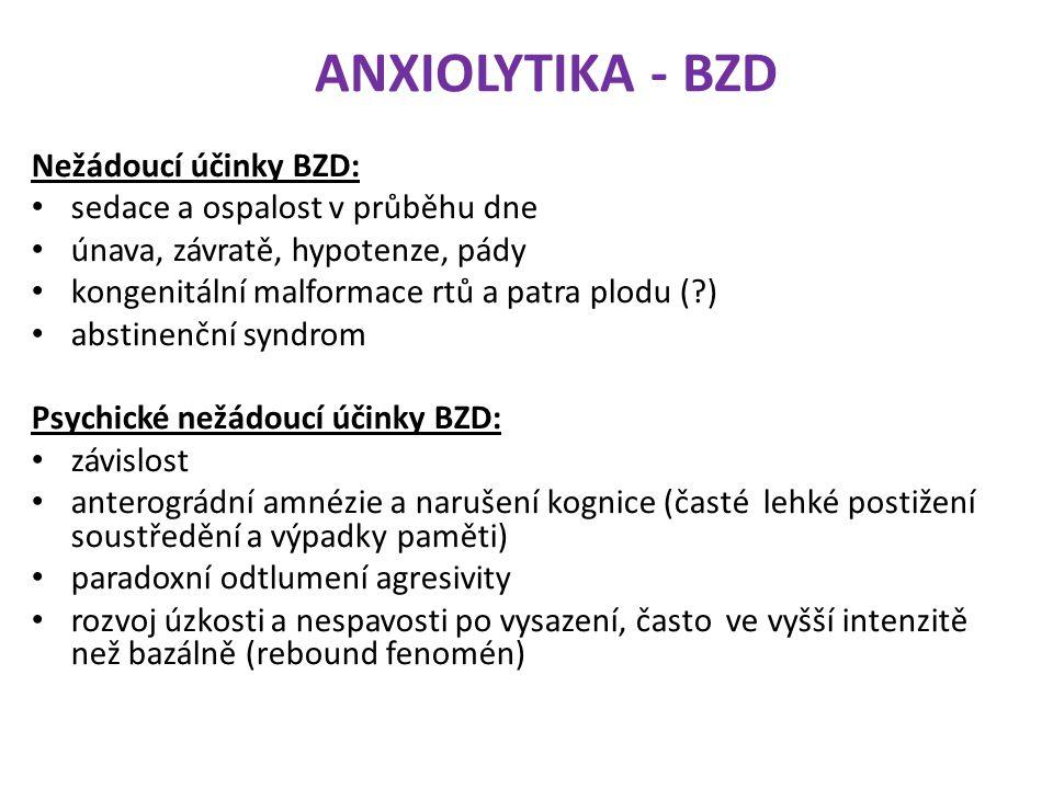 ANXIOLYTIKA - BZD Nežádoucí účinky BZD: sedace a ospalost v průběhu dne únava, závratě, hypotenze, pády kongenitální malformace rtů a patra plodu (?)