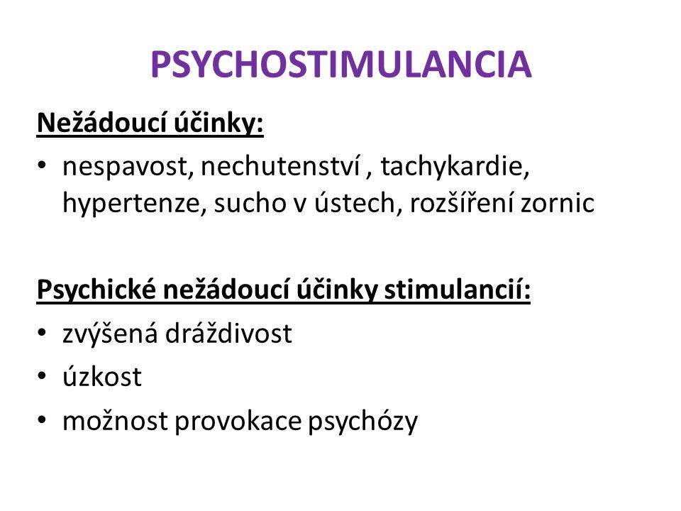 PSYCHOSTIMULANCIA Nežádoucí účinky: nespavost, nechutenství, tachykardie, hypertenze, sucho v ústech, rozšíření zornic Psychické nežádoucí účinky stim