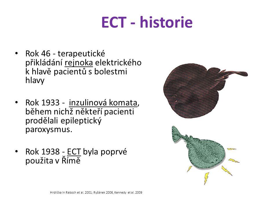 ECT - historie Rok 46 - terapeutické přikládání rejnoka elektrického k hlavě pacientů s bolestmi hlavy Rok 1933 - inzulinová komata, během nichž někte