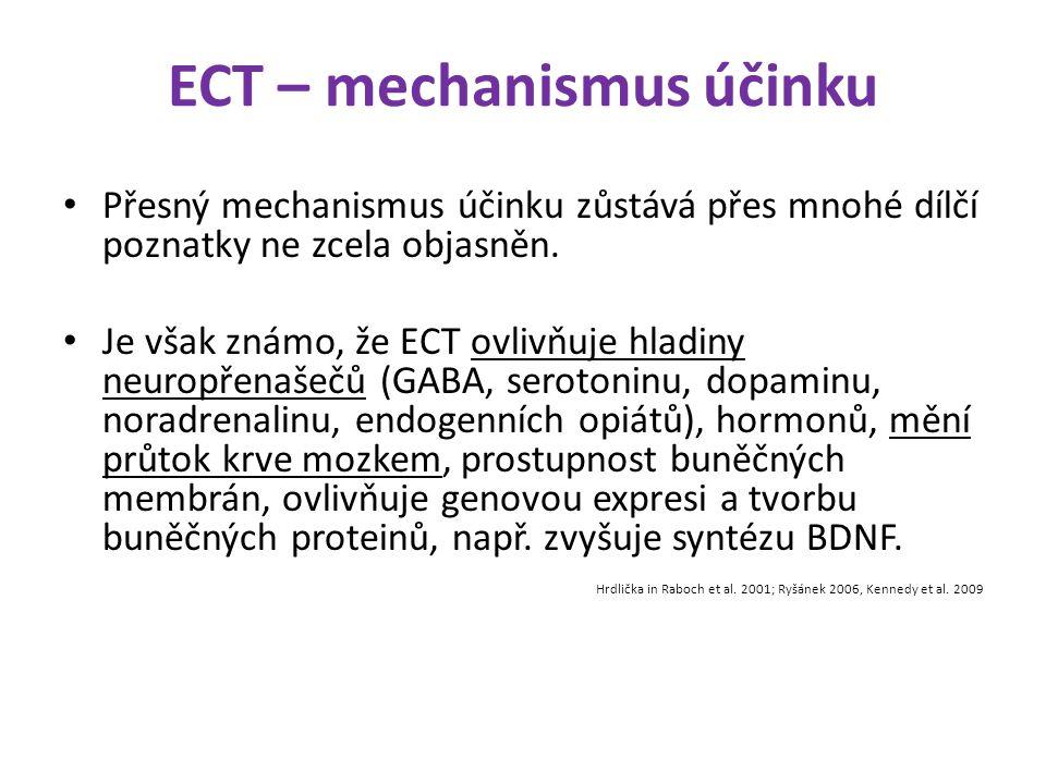 ECT – mechanismus účinku Přesný mechanismus účinku zůstává přes mnohé dílčí poznatky ne zcela objasněn. Je však známo, že ECT ovlivňuje hladiny neurop