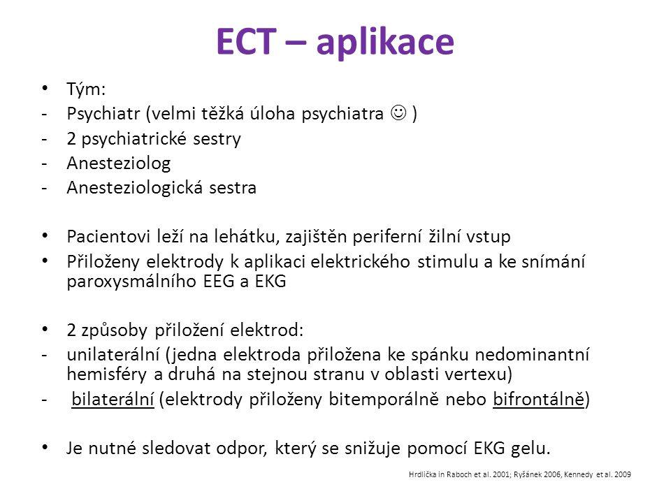 ECT – aplikace Tým: -Psychiatr (velmi těžká úloha psychiatra ) -2 psychiatrické sestry -Anesteziolog -Anesteziologická sestra Pacientovi leží na lehát
