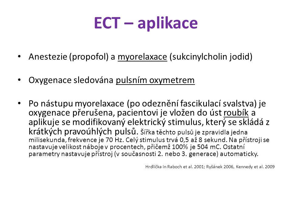 ECT – aplikace Anestezie (propofol) a myorelaxace (sukcinylcholin jodid) Oxygenace sledována pulsním oxymetrem Po nástupu myorelaxace (po odeznění fas