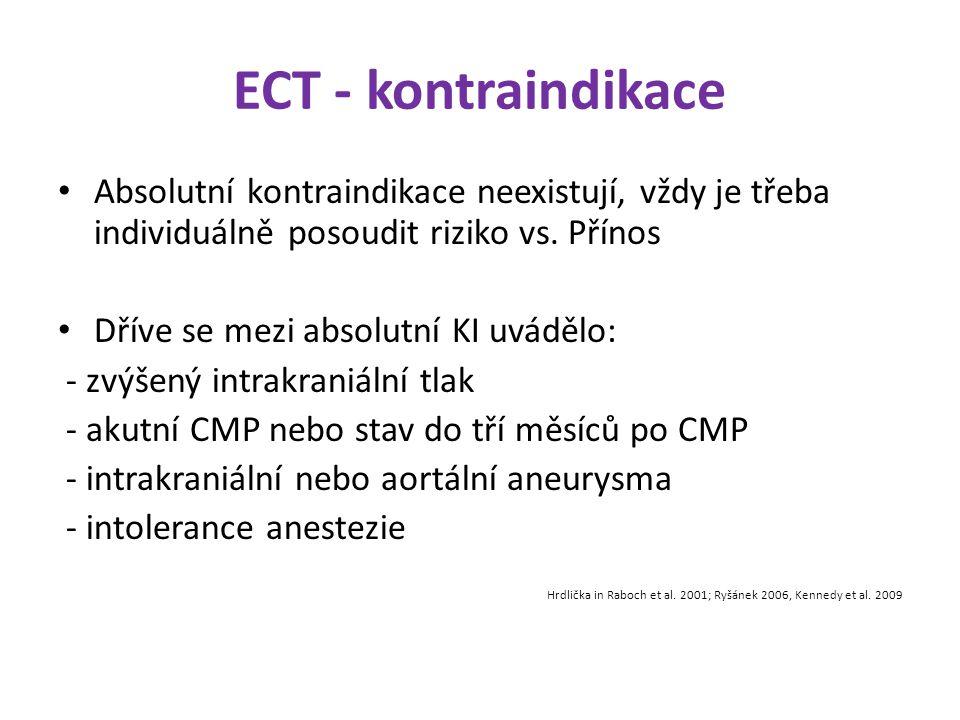 ECT - kontraindikace Absolutní kontraindikace neexistují, vždy je třeba individuálně posoudit riziko vs. Přínos Dříve se mezi absolutní KI uvádělo: -