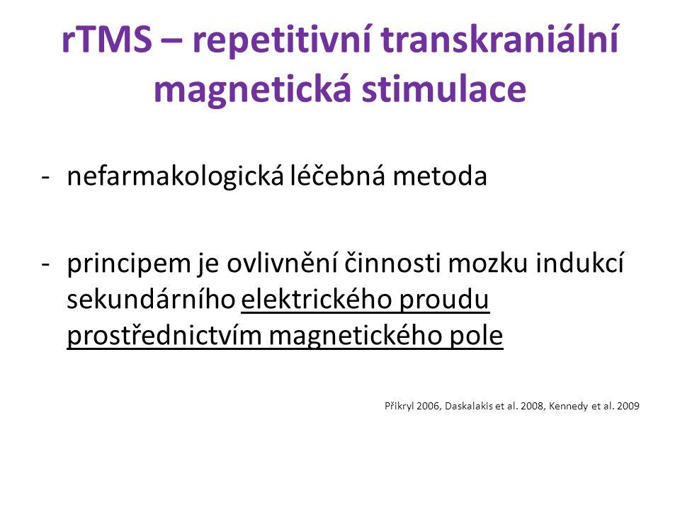 rTMS – repetitivní transkraniální magnetická stimulace -nefarmakologická léčebná metoda -principem je ovlivnění činnosti mozku indukcí sekundárního el
